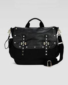 Logan Leather & Nylon Diaper Bag, Black  by Rebecca Minkoff at Neiman Marcus.