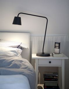 Lighting ideas for a Swedish-style home Monochrome Interior, Interior Design, Ikea Inspiration, Black Table Lamps, White Rooms, Awesome Bedrooms, Black Decor, Bedroom Styles, Minimalist Bedroom
