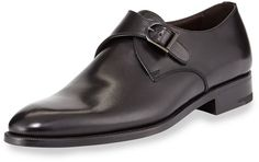 $750, Black Leather Monks: Ermenegildo Zegna Single Monk Strap Shoe Black. Sold by Neiman Marcus. Click for more info: https://lookastic.com/men/shop_items/224269/redirect