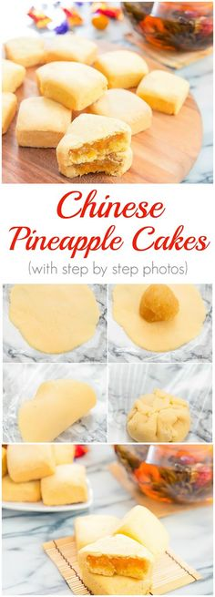 Taiwanese Pineapple Cakes is part of Chinese dessert Chinese pineapple cakes (鳳梨酥, pronounced Feng Li Su) are a famous pastry in Taiwan Usually squareshaped, it has a buttery, shortbreadli - Chinese Cake, Chinese Food, Healthy Chinese, Korean Food, Pineapple Tart, Chinese Pineapple Cake Recipe, Taiwan Pineapple Cake, Pineapple Pastry, Pineapple Cookies