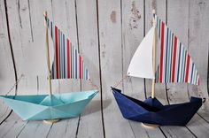 Paper Sailboat set of 8 Multi striped sail with navy or by Msapple, $24.00