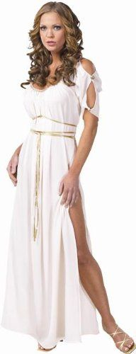 Halloween Adult Womens Costumes Greek Roman Goddess White Toga Dress Costume Theme Party Outfit:Amazon:Clothing