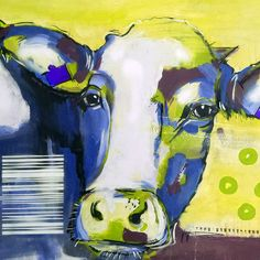 "Artprint on large canvas by Stefanie Rogge ""Pop Cow"" Cow Art, Buy Art Online, Animal Paintings, Abstract Paintings, Acrylic Art, Art Market, Large Canvas, Handmade Art, Art Forms"