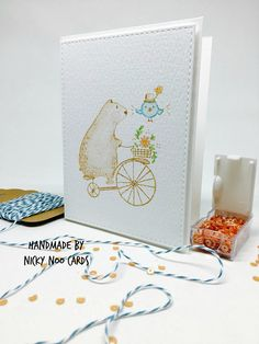 Big Bear & Bird - Waffle Flower Crafts. Card by Nicky Noo Cards #nickynoocards https://www.etsy.com/shop/nickynoocards and https://www.facebook.com/nickynoocards/