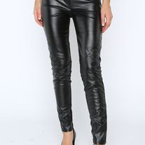 NEW ARRIVALS! These sassy and fun black faux leather pants/leggings with the faux leather on the front and cotton material on the back! $30.98 Faux Leather Panel Leggings Leggings with faux leather panel. Thick elastic waistband. •60% PU, 40% Cotton •Made in China