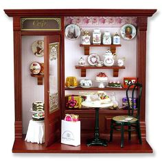 Fabulous Empty Cafe Shop Display Room Box by Reutter Porcelain for Miniatures - 11 Main