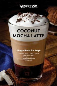 Learn how to make a Coconut Mocha Latte at home. | INGREDIENTS: 1 capsule Fortissio Lungo Grand Cru, 2.5 oz liquid chocolate, frothed whole milk, splash of coconut syrup, chocolate shavings. | MATERIALS: 12 oz recipe glass, Aeroccino milk frother or your machine's steam nozzle. | HOW TO: Pour the liquid chocolate into your glass and brew the Fortissio Lungo on top. Froth the milk, then add a splash of coconut syrup. Pour the coconut milk froth on top. Garnish with chocolate shavings. Nespresso Recipes, Nespresso Usa, Coconut Syrup, Coconut Milk, Coffee Drink Recipes, Coffee Drinks, Milk Splash, California Closets