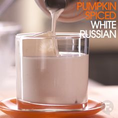 Make and share this Pumpkin Spiced White Russian recipe for your Thanksgiving Cocktail. Thanksgiving Cocktails, Holiday Drinks, Fun Drinks, Yummy Drinks, Thanksgiving Recipes, Fall Recipes, Holiday Recipes, Yummy Food, Alcoholic Drinks