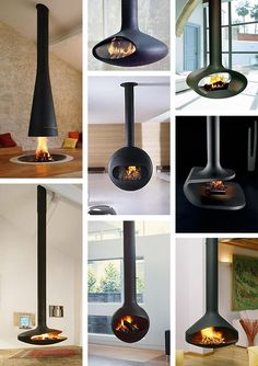 We've fallen in love with the suspended fireplace . It is modern, it is technologically advanced and, most important, it is very inviting. A beautiful sculpture that creates a. ideas log burner Suspended Fireplace - hot new trend Suspended Fireplace, Hanging Fireplace, Home Fireplace, Fireplace Design, Fireplace Ideas, Floating Fireplace, Gas Stove Fireplace, Vintage Fireplace, Freestanding Fireplace