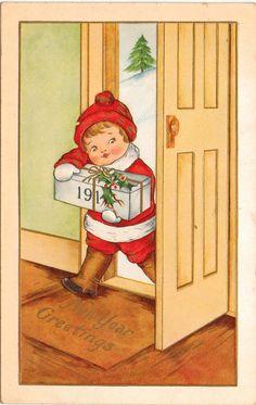 1914 New Year Greetings Postcard