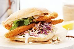Try these gourmet fish burgers with crunchy slaw and homemade coconut mayo.