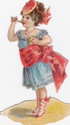 Antique Late 1800s Pretty Girl Pink Bow Blue Dress Charming Diecut | eBay