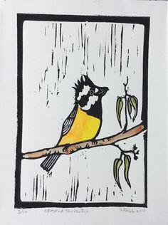 Crested Shrike Tit Lino Cut by Helene Fabb