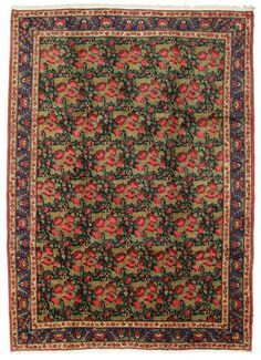 This carpet is handknotted by villagers, who were former nomads in the south of Persia. The carpet often has a geometrical pattern with red and blue colours.