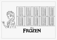 Tabuada para Imprimir Frozen Elsa