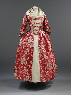 18th Century Costume Archives: Red Silk 1760s Robe a l'Anglais | Making History Tart & Titillating
