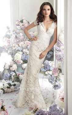 #Valentines #AdoreWe #Dorris Wedding - #Dorris Wedding Captivating V-Neck Lace Over Charmeuse Dress With Short Sleeve and Sheer Back - AdoreWe.com