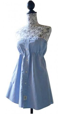 How to Make a Shirt Dress   What you need:    A man's shirt, as large as you can find  Dressmaker's pins  String elastic  A sewing machine (you will be using straight and zigzag stitches)  Tailor 's chalk  Ribbon, about 1 inch thick