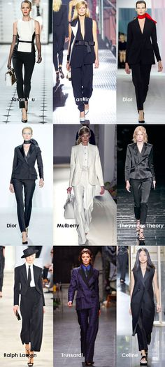 Top Right (Dior).  Black suit + red scarf = STUNNING.  Spring Summer 2013 Trends, Women in Suits