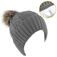 7b40641461a Buy Senker Womens Winter Thick Cable Knit Faux Fur Pom Pom Beanie Hat