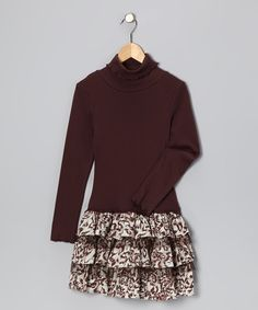 Take a look at this Brown Cheetah Ruffle Dress - Toddler & Girls on zulily today!