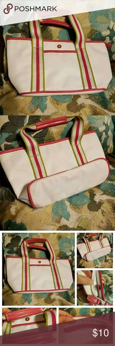 Purse small handbag by Sonoma Purse small handbag by Sonoma Life and Style.  Bright white with bright pink, lime green stripes, cute pink and yellow decorative daisy. Gently used. Reposhing this lovely bag because my wallet just won't fit!  Originally from my PFF April's closet. Checkout her closet for the best finds @apriljerseygirl! Sonoma  Bags Mini Bags