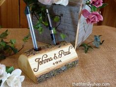 Guest Book Pen Holder Custom Names Initials Words Personalized Rustic Wedding Decor