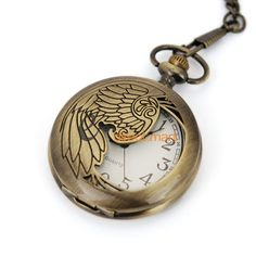 Phoenix Skeleton Polish Retro Copper Case Men Pendant Pocket Watch w/Fob Chain - $60nok