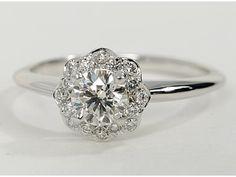 floral vintage halo ring