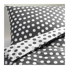 STENKLÖVER Duvet cover and pillowcase(s), white, gray - white/gray - Full/Queen (Double/Queen) - IKEA