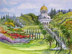 Israeli Art | ... Israel Painting - Bahai Shrine and Gardens in Haifa Israel Fine Art