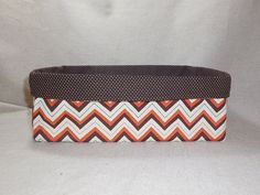Orange, Brown and Cream Chevron Long Fabric Basket For Storage Or Gift Giving