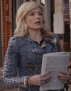 Samantha's denim moto jacket with textured sleeves on The Carrie Diaries.  #TheCarrieDiaries