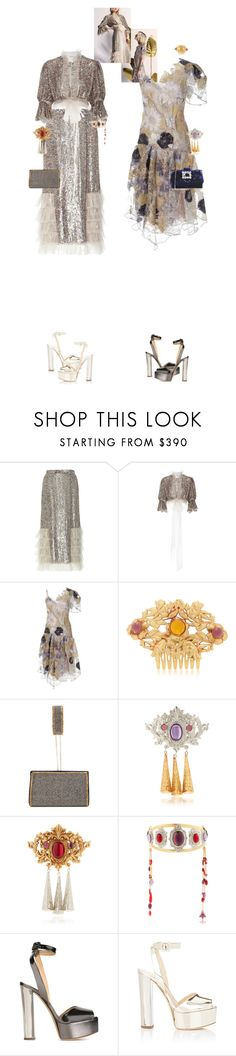 """""""Viktoria & Oakley #9110"""" by canlui ❤ liked on Polyvore featuring Rodarte, Alberta Ferretti, Giuseppe Zanotti, Roger Vivier, lace, Sequins and embellished"""