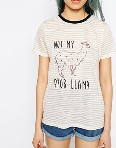 Image 3 of ASOS T-Shirt In Stripe With Not My Prob - Llama Print