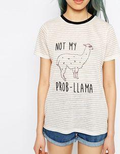 """Bild 3 von ASOS – Gestreiftes T-Shirt mit """"Not My Prob""""-Aufschrift und Lama-Print                                                                                                                                                                                 Mehr"""