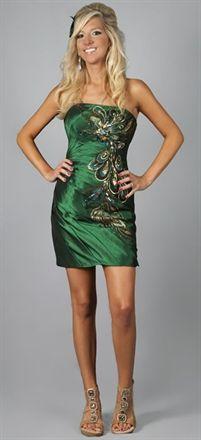 Peacock A-line Strapless Sleeveless Satin Short Homecoming Dress-$165.97-ReliableTrustStore.com