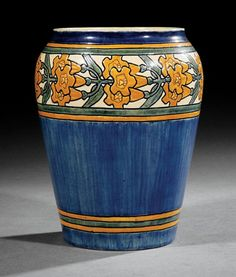 Newcomb College Art Pottery | High Glaze Vase, 1904 | Decorated by Mary Givens Sheerer with a band of incised Alamanda blossoms | Newcomb cipher, decorator's mark, Joseph Meyer's potter's mark, reg. no. VV35, and Q for buff clay body, height 9 1/2 in., diameter 6 3/4 in