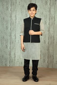 Printed kurta churidar with cotton jacket embellished with patti and stitched work. Item number KB16-03