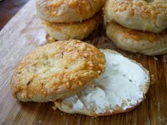 homemade asiago, parmesan or cheddar cheese bagels