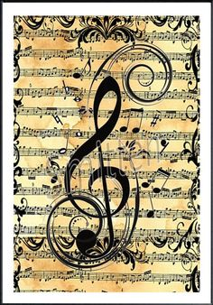 Treble Clef over Sheet Music Art Print by SmittensDesigns, Sound Of Music, Music Is Life, My Music, Music Notes Art, Hippie Music, Hippie Gypsy, Instruments, Piano Music, Sheet Music Art