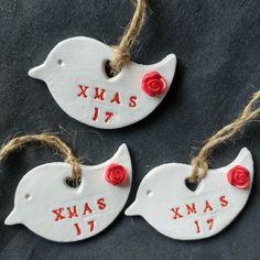 Christmas tree clay hanging ornaments / keepsakes