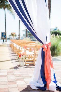 A Nautical Coral and Blue Destination Wedding Coral Wedding Decorations, Nautical Wedding Theme, Wedding Themes, Wedding Ideas, Themed Weddings, Anchor Wedding, Diy Wedding, Trendy Wedding, Wedding Table