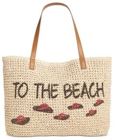 Style & Co To The Beach Straw Tote, Only at Macy's - Tan/Beige