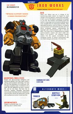 Transformer of the Day: Iron Works Transformers Decepticons, Transformers Characters, Transformers Prime, Nemesis Prime, Gundam, Transformers Generation 1, Manga, It Works, Childhood