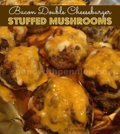 This Bacon Double Cheeseburger Stuffed Mushrooms Recipe is one of our all time favorites! Juicy mushrooms stuffed a seasoned beef and bacon filling, topped with cheese and baked until hot & bubbly. Beef Recipes, Low Carb Recipes, Dip Recipes, Easy Recipes, Burger Recipes, Casserole Recipes, Cooking Tips, Cooking Recipes, Cooking Food