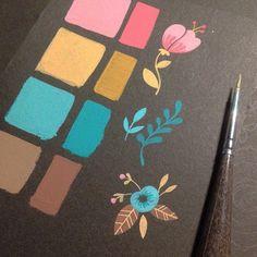 #ShareIG Color test for a new floral pattern!  #guache on #favini #paper #vsco #vscocam #drawing #sketchbook #palettes #illustration #floral #pattern #patterndesign #paperlovers #wrappingpaper #fabrics #_elisaferro