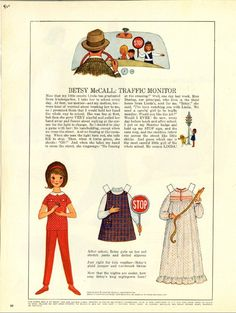 Vintage September 1964 Magazine Paper Doll of Betsy McCall Traffic Monitor