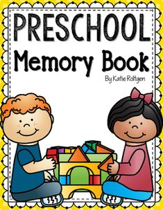Preschool Memory Book - Check out this end of year memory book to help your preK students reflect on their school year. You get 16 pages - all about me, my teacher, my school, What I like at school, my friends, favorite snack, favorite book, field trip, when I grow up, recess/outside, class pet, favorite things, handprint, and more. Great keepsake for kids, parents, and families!