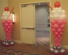 Balloon art, ballons as giant ice cream soda with cherry on top decoration by doorway for childrens, kids party, ice cream social by Tina Roberts Designs; Upcycle, Recycle, Salvage, diy, thrift, flea, repurpose, refashion! For vintage ideas and goods shop at Estate ReSale & ReDesign, Bonita Springs, FL